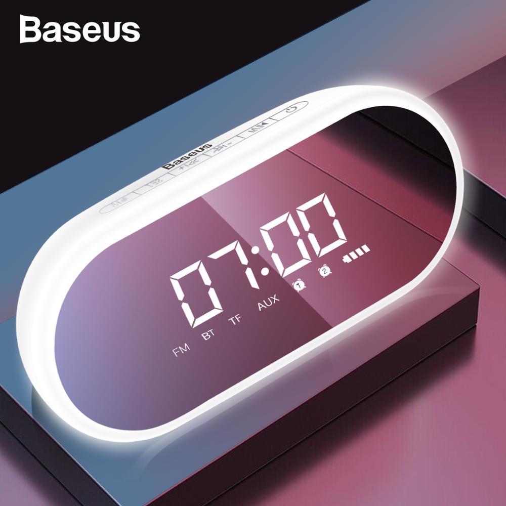 Baseus E09 Portable Bluetooth Speaker With Alarm Clock Wireless Loudspeaker Music Surround Loud Speaker For Phone PC Computer