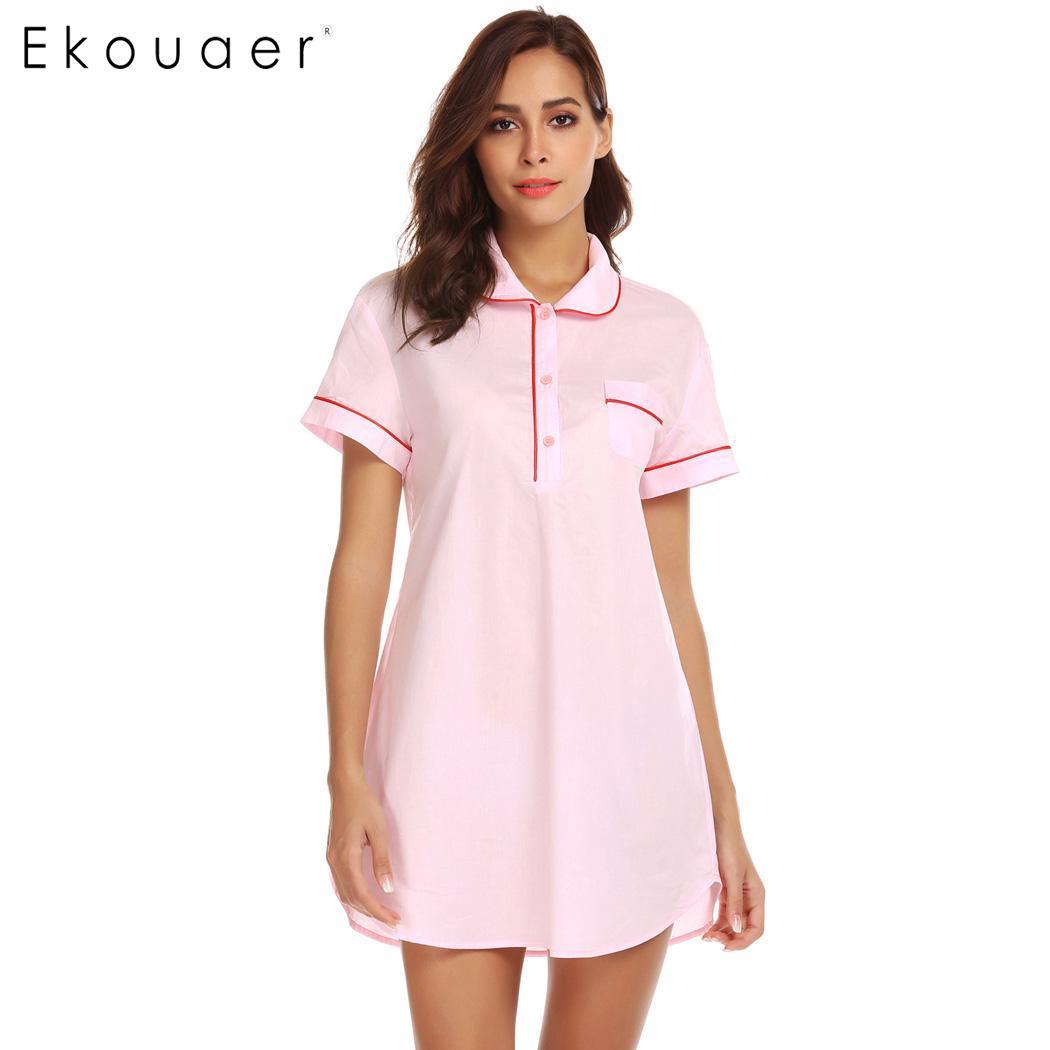 Ekouaer Women 100% Cotton Nightgown Boyfriend Sleepshirts Turn-down Collar Sleepwear Short Sleeve Female Nightgowns Nightdress