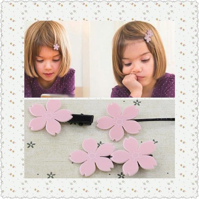 2016 New Flower Hair Clips Children Hair Accessoried Romantic Pink Sakura Resin Barrette Elastic Hair Bands Lovely Girls Hairpin