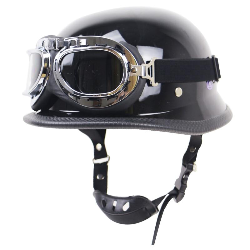 Casque allemand avec lunettes casque de moto style M35 DOT approuvé casque à visage ouvert engrenages de vélo vintage