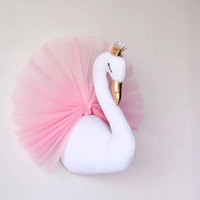 Cute 3D Golden Crown plush Swan Wall Art Hanging Girl Swan plush Doll Stuffed Toy Animals Head Wall Decor for Kids girls Room