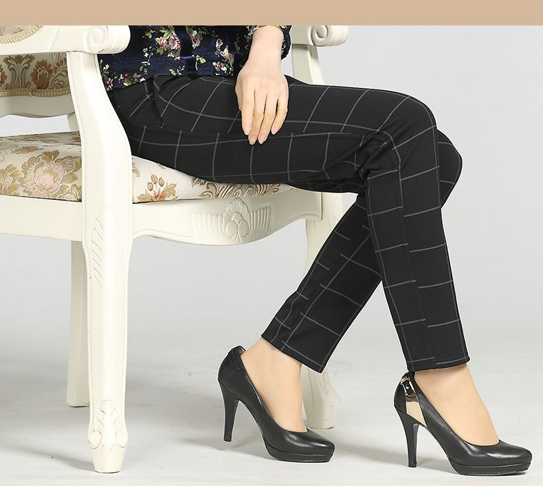 Woman Casual Pant Navy Blue Green Black Plaid Trousers Women Spring Autumn Winter Trouser High Waist Elastic Band Pantalonese Mujer  (17)