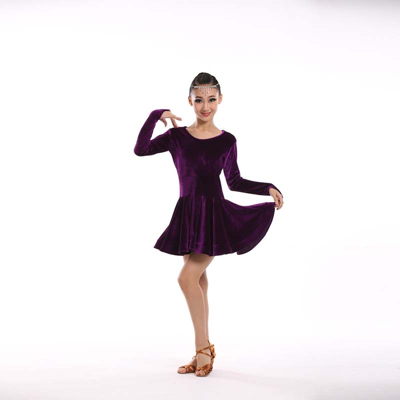 Children Latin Dance dress Girl long sleeve Latin dancewear Girl Dress Children Dance flamenco costumes Autumn/Winter purple