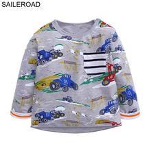 SAILEROAD Cartoon Tractors Boys Long Sleeve T-shirts Cotton Bobo Choses Spring 2019 T-shirts for Babies Shirt Girl Kids Shirts