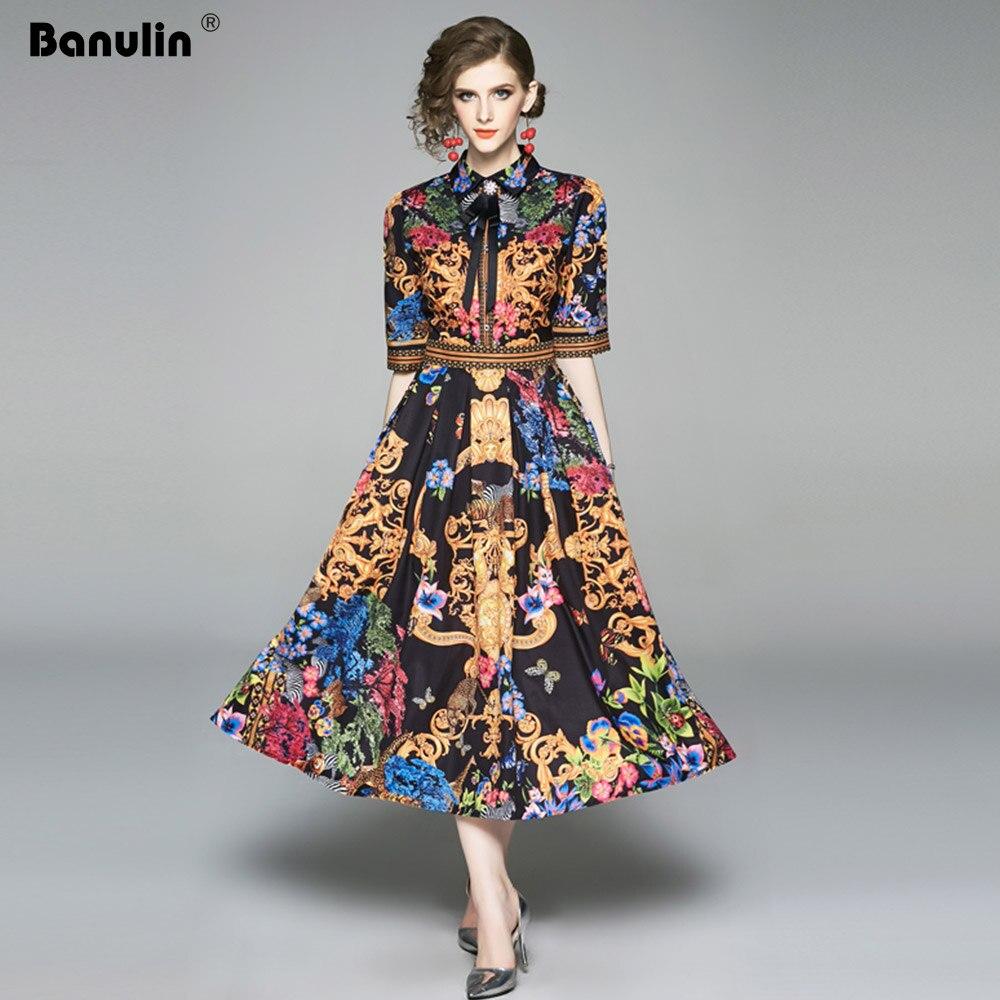 2019 été élégante demi manches robe femmes imprimé Floral piste longue robe mode bouton diamants Vintage robe mi-longue B9119