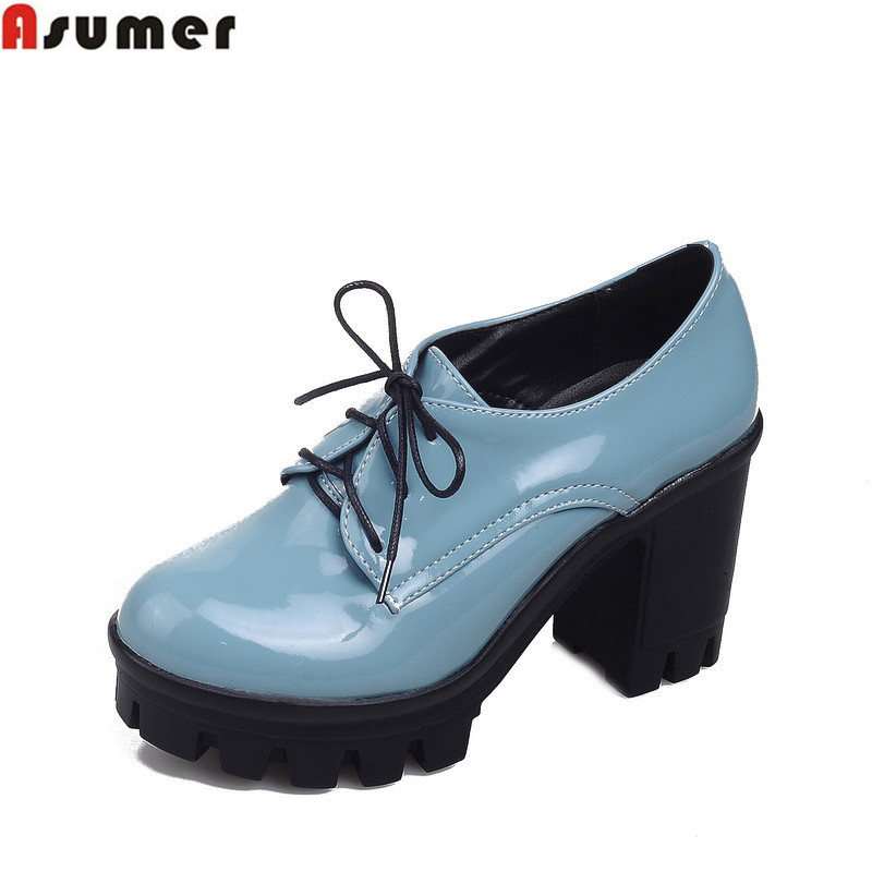 Asumer Fashion Round Toe Pumps For Women High Quality Soft Leather Simple Lace Up Platform Shoes Thick High Heels Shoes Women