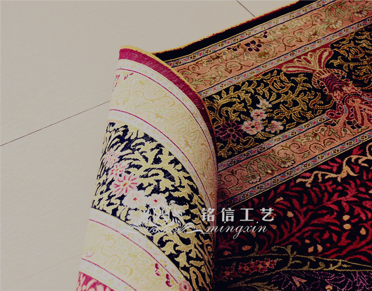 5'x7. 5' tapis de soie persan fait main rouge tapis de zone de tissage à la main - 4