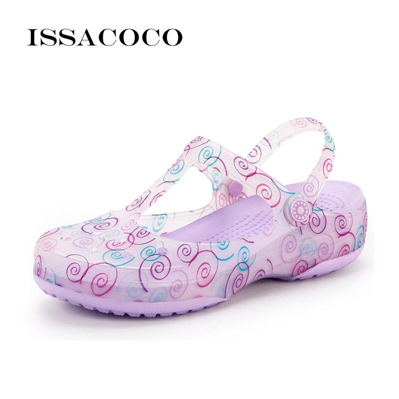 ISSACOCO 2018 обувь женские шлепанцы Летняя обувь прозрачная обувь сабо летняя сандалии пляж сад дышащая обувь Zapatillas Pantufa