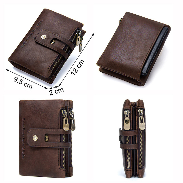 CONTACT'S Genuine Crazy Horse Leather Mens Wallet Man Cowhide Cover Coin Purse Small Brand Male Credit&ID Multifunctional Walets 3
