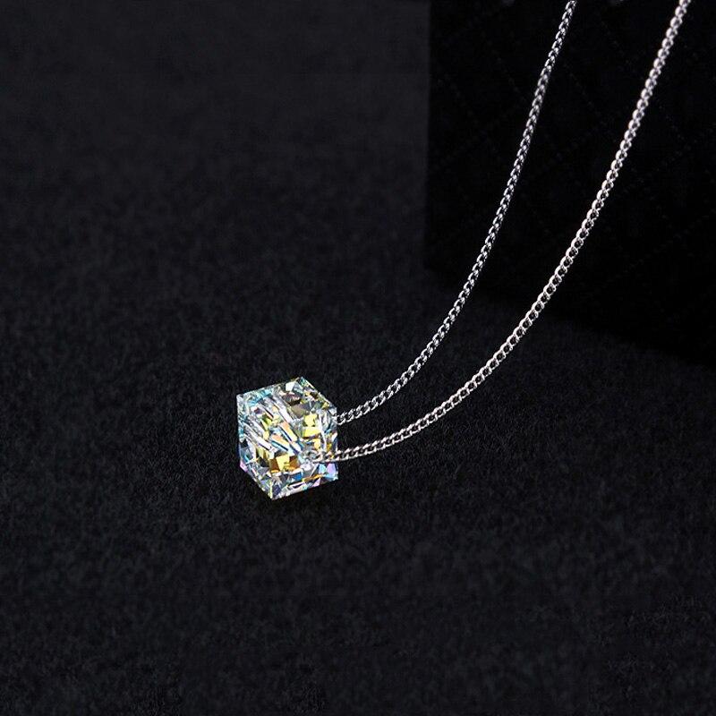 08aac09e96df € 4.46 50% de DESCUENTO|BAFFIN cristales originales de Swarovski cuadrado  COLLAR COLGANTE de cuentas para mujer joyería de fiesta Infinity cadena ...