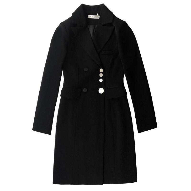 Femmes Boutons Manteau Entaillé Double Ol Femme Boutonnage À Costumes Blazer Veste Élégant Professionnel Hauts Longue Cardigan Robe Noir SaPxq7