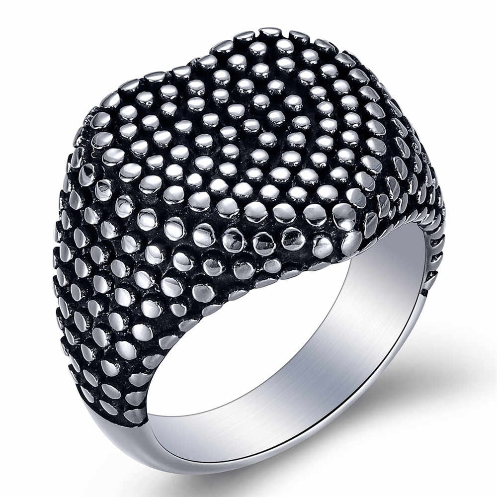 Biker Motorcycle Heart Ring Cool 316L Stainless Steel Silver Dots Heart Ring Vintage Ladies For Gift Heart Ring