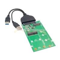 SATA 22pin 2.5 Hard Disk to USB 3.0 to 2 in 1 Combo Mini PCI E 2 Lane M.2 NGFF & mSATA SSD Adapter Converte