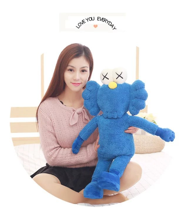 50cm 70cm 90cm 2018 Kaws Thailand Bangkok Exhibition Sesame Street Kaws BFF Plush Doll Toy Collections black and Blue