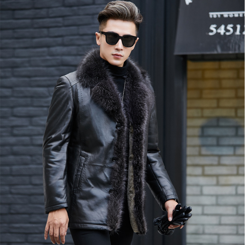 Faux Leather Jacket Men Winter Raccoon Fur Collar Coat Fake Motorcycle Leather Jackets Plus Size Chaqueta Cuero Hombre T1029