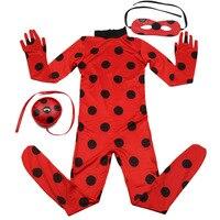 ילדים בנות בגד גוף Romper פרת משה רבנו פרת משה רבנו Cosplay תלבושות עם מסכה חליפת חתול ליל כל הקדושים נשים אדומים נקודות שחורות סרבל הדוק