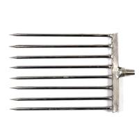 Stainless Steel Sharp 8mm Thread 10cm Width 8 Prongs Flat Eel Pike Fishing Spear Head For