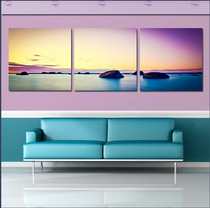 stone is land canvas art Painting modern sunset beach Decorative Art Picture Abstract Canvas Printings,Modular Pictures
