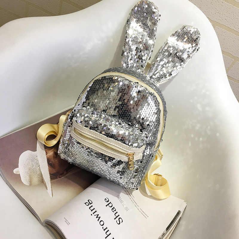 Милые заячьи ушки Русалка рюкзак обратимые блестки чемоданчик школы женский туристический рюкзак кожа небольшие рюкзаки для Для женщин блеск