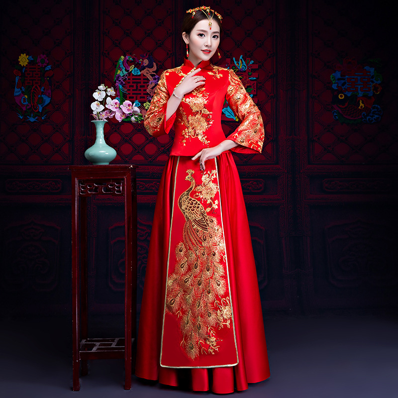 Qipao Wedding Gown: Women Traditional Chinese Gown 2018 New Long Cheongsam