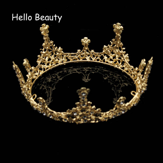 placeholder Gold Color Baroque Vintage Men Diadem Large Crystal Full Round  Prom King Crown Wedding Pageant Queen 32d69ca88922