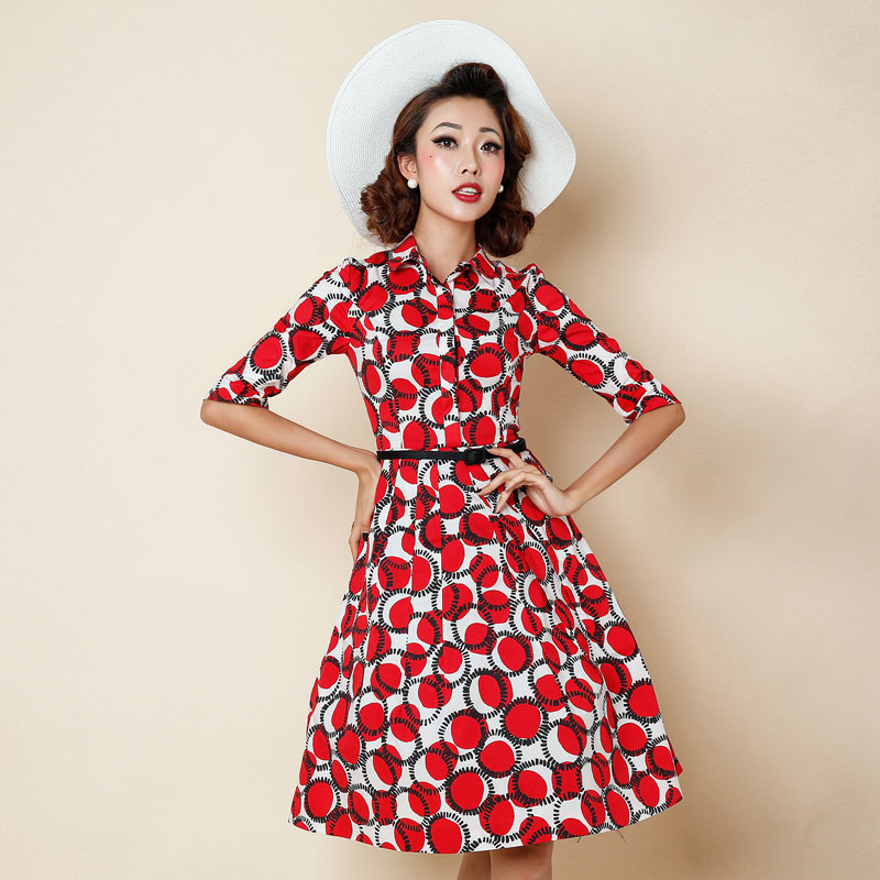 c2653807047 1950s pinup vintage rockabilly shirt collar swing dress in red dots ...