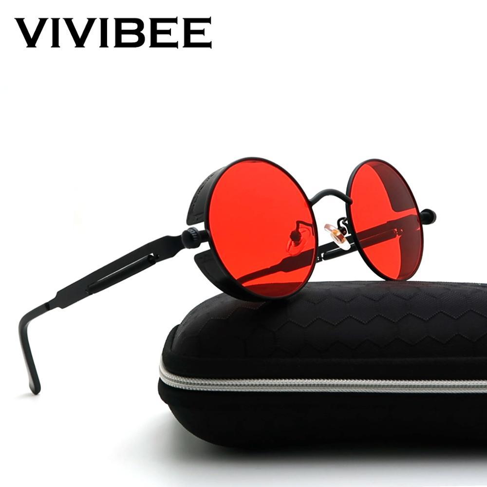 VIVIBEE Vintage Steampunk Red Sunglasses Men Round Punk Alloy Metal Retro Sun Glasses Women 2020 Goggles Men Gothic Style Shades