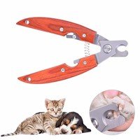 New Professional Pet Nail Clipper Scissor Stainless Steel Trimmer With Wooden Handle Dog Cats Grooming Scissors