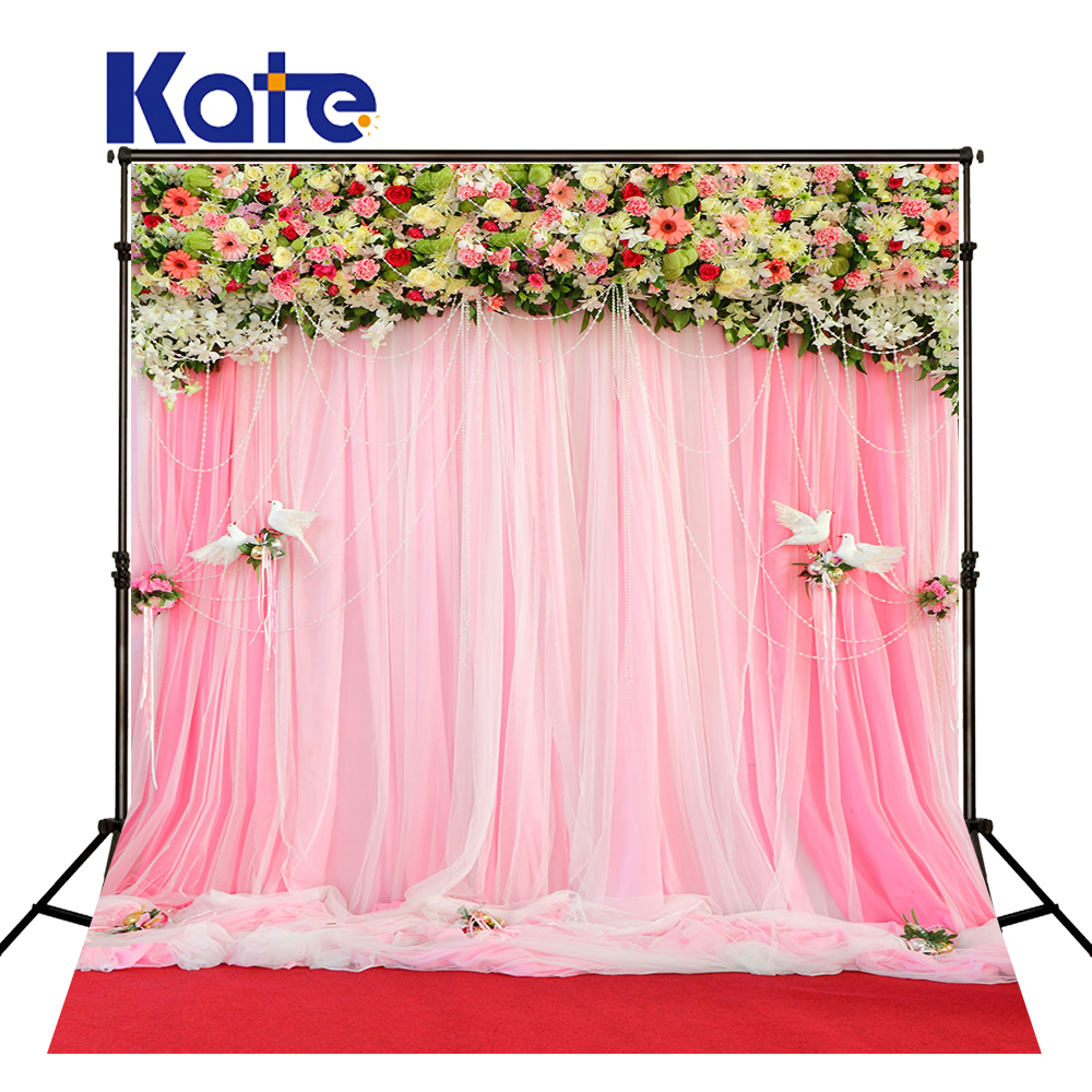 KATE Photography Backdrop Wedding Backdrops Pink Curtain Flower Background Red Carpet Floor Background for Photocall Wedding kate flower wall pink backdrop romantic wedding photography backdrops spring photography backdrops large size seamless p