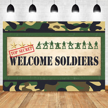 NeoBack Army Men Welcome Sign Photo Backdrop Party Decorations Banner Commando Marines Parties Supplies Vinyl Cloth