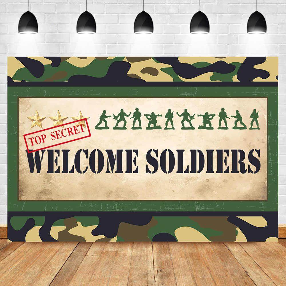 NeoBack Ordu Erkekler hoş geldin yazısı fotoğraf arka fonu Parti Süslemeleri Banner Komando Deniz Partiler Malzemeleri Vinil Kumaş