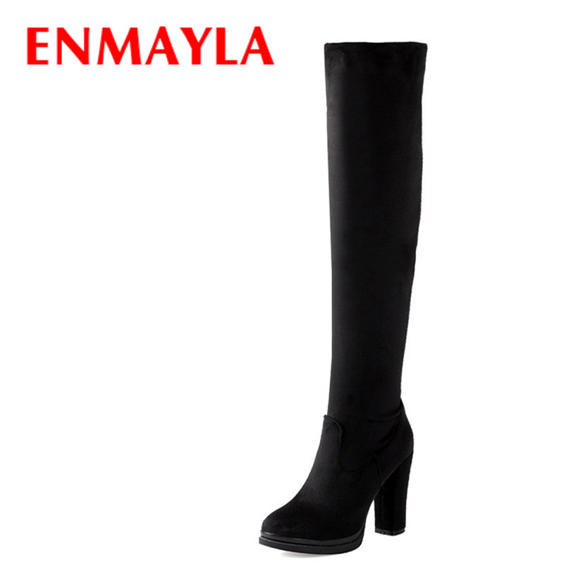 ENMAYLA Over The Knee Winter Round Toe Sexy Fashion Boots for Women Boots Big Size 43 Women Boots Shoes New High Boots New Long