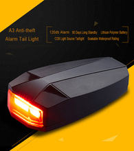 A3 Bike Tail Light Rechargeable USB Anti-theft Alarm Bicycle LED Safety Taillight Waterproof Siren Warning Cycling Rear