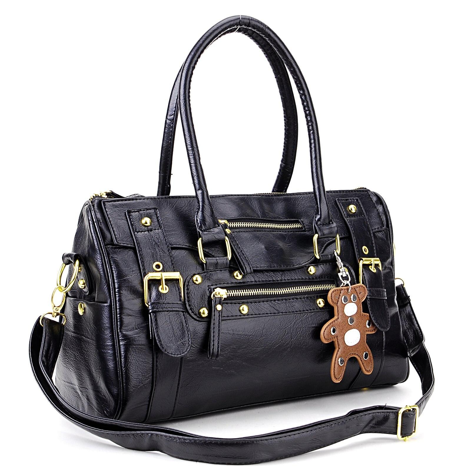 Wholesale 10pcs sac a main porte main noir pour femmes cuir pu en rayure rocher ave un petit - Porte sac a main ...
