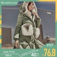 ONLY 2019 New Women Down Coat Winter Coat Parka Fox Fur Collar Loose Fit White Duck Down Women Down Jacket |118312568
