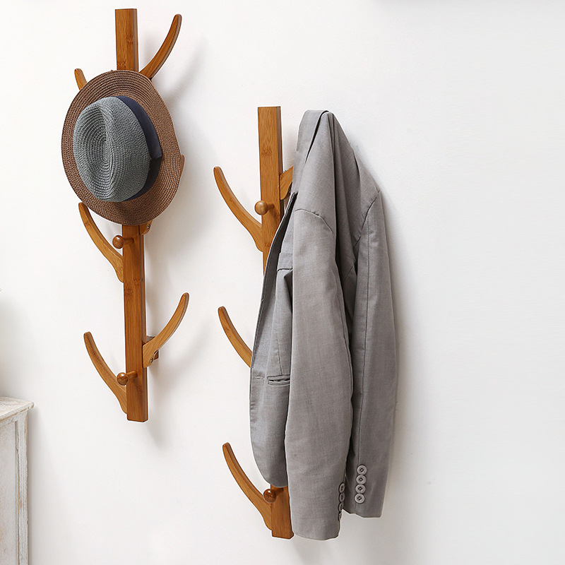 Fashion 6 Hooks Wall Hanging Coat Rack Solid Wood Hayfork Hangers Bedroom Entrance Clothes Hooks Bamboo Home Furniture delicate silver cuff bracelet for women page 1
