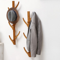 Fashion 6 Hooks Wall Hanging Coat Rack Solid Wood Hayfork Hangers Bedroom Entrance Clothes Hooks Bamboo Home Furniture