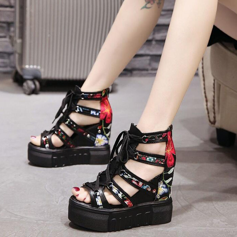 Summer Lady Hollow flower zip Sandals shoes Thick Heel Wedges Platform ShoeS High Heels Platform Sandals Women Sandals MM-25 shiningthrough summer woman sandals shoes women platform wedges heel fashion casual loop bling star thick sole women shoes