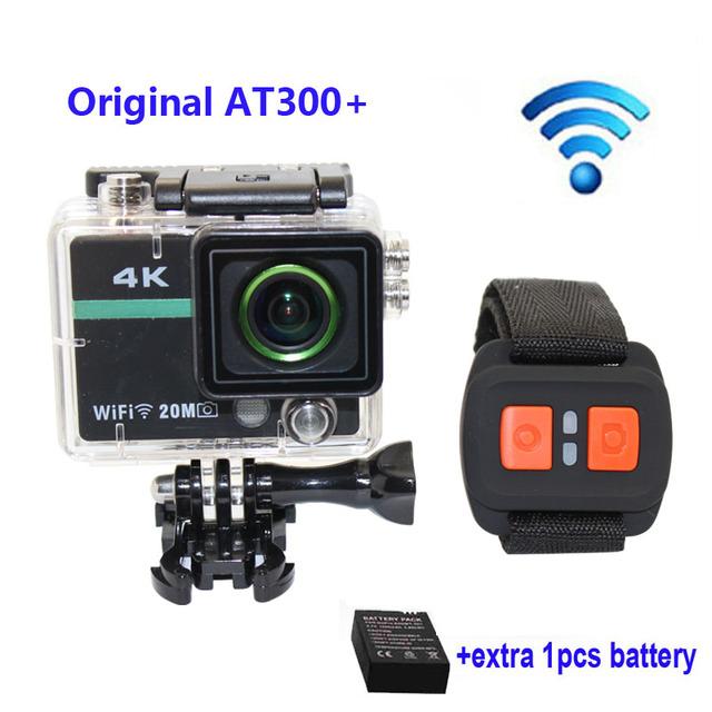 Frete grátis!! Original AT300 Além Disso Wifi 4 K 15fps HD 1080 P Câmera de Ação de Esportes com Controle Remoto RF Capacete controle + Extra 1 pcs bateria