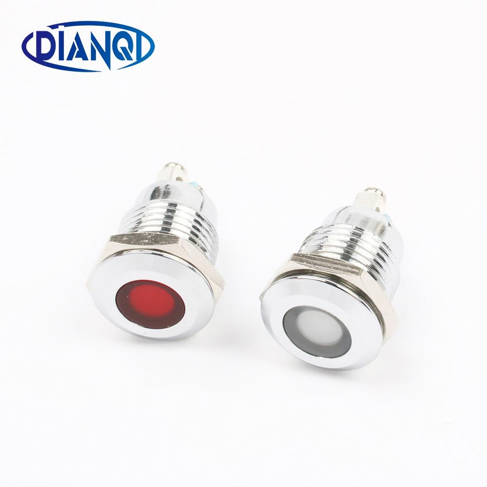 LED Metal Indicator Light Flat 12mm Waterproof Signal Lamp LIGHT 3V 6V 12V 24V 220V Screw Connect Red Yellow Blue 12ZSD.DM.L