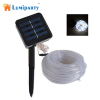 LumiParty 100LEDs Solar Rope Tube LED Light String STRIP Waterproof Outdoor Garden Party Decorations