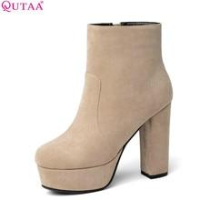 QUTAA 2020 Women Ankle Boots Square High Heel Fashion Winter Shoes Platform Al Match Flock Square Toe Women Boots Size 34-43