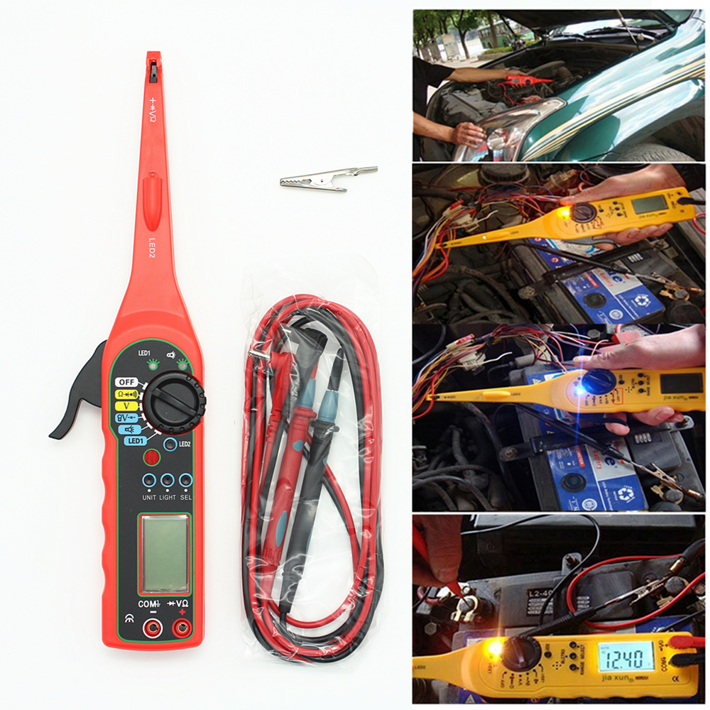 Tela Digital de carro Automotive Circuit Tester Multímetro Elétrico Lâmpada Reparo Do Carro Automotive Electrical Multímetro