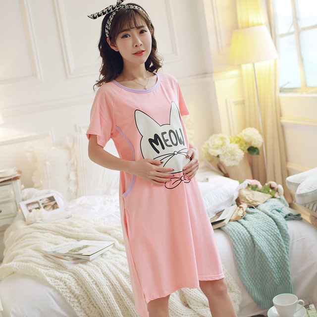 2cb905b8a5 Spring Summer Maternity Cat Printed Pajamas with Short Sleeves Pure Cotton  Nursing Nightgown Expectant Mother Feeding Dress