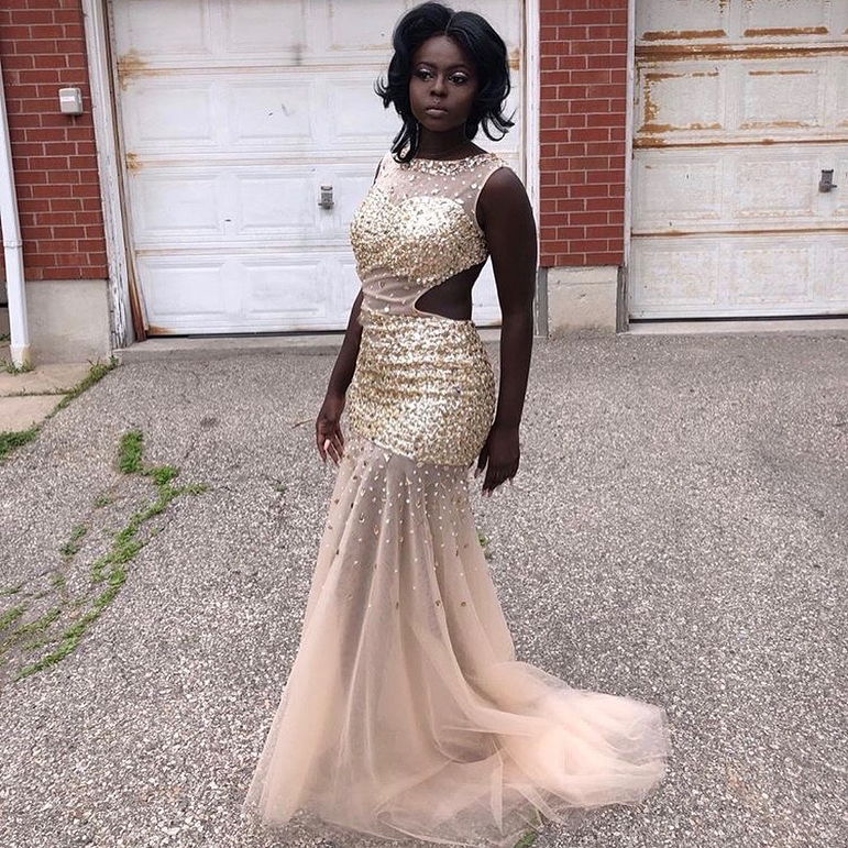 2019 Sexy Backless Beading Crystal Prom Dresses Long  Illusion Tulle Mermaid Prom Gowns Sleeveless Sweep Train Party Dresses