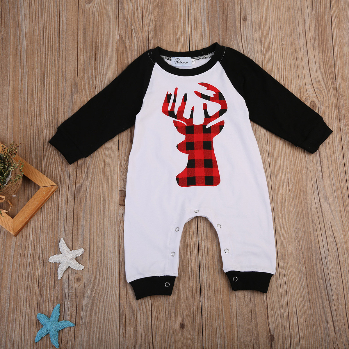 Pudcoco Cotton Newborn Baby Boys Girls Long Sleeve Deer Romper Jumpsuit Playsuit One-Pieces Outfits Clothes