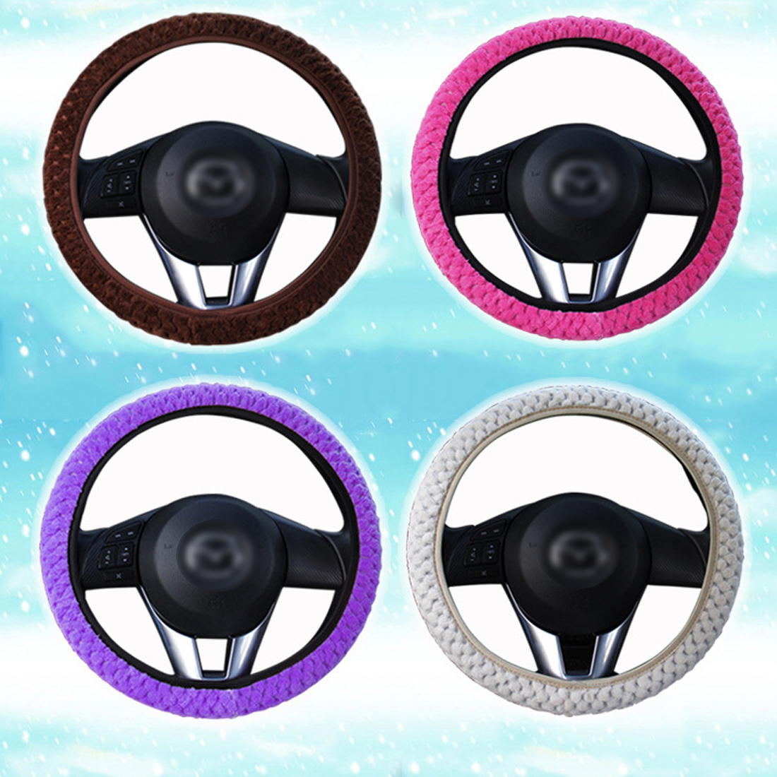Winter Car Steering Wheel Cover//Universal Soft Warm Plush Covers for steering