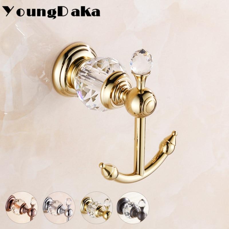 Modern Luxury Style Crystal Brass Gold Robe Hook Bathroom Hangings Towel Rack Bedroom Clothes Hook Home Decoration casaco gancho