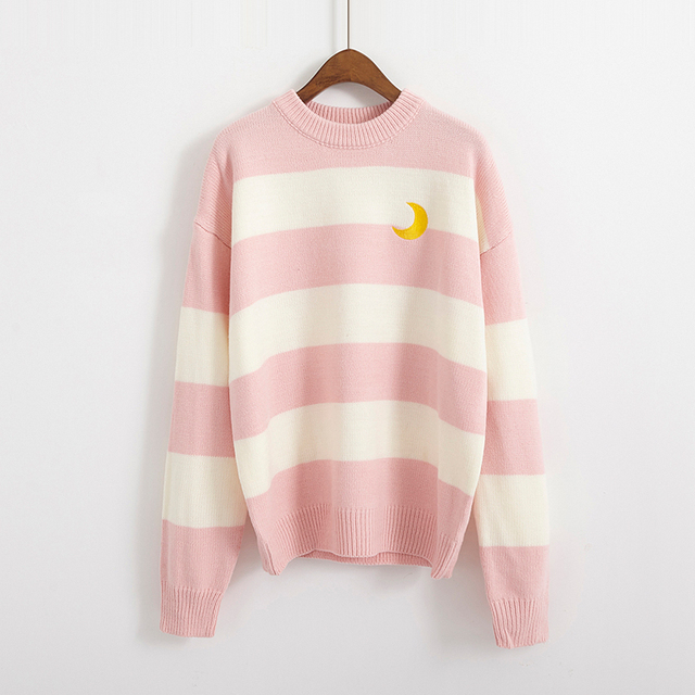 Women's Sweaters Kawaii Ulzzang College Candy Color Stripes Moon Sets Embroidery Sweater Female Harajuku Clothing For Women Lady 5