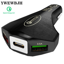 YWEWBJH Car USB Charger  3.0 Fast charge type-c car charger Mobile Phone Charger3 Port for iPhone